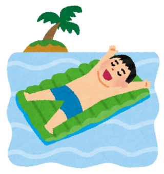 フロートマットに寝ながら海に浮かぶ人のイラスト
