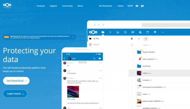 Nextcloud 公式サイト トップページ